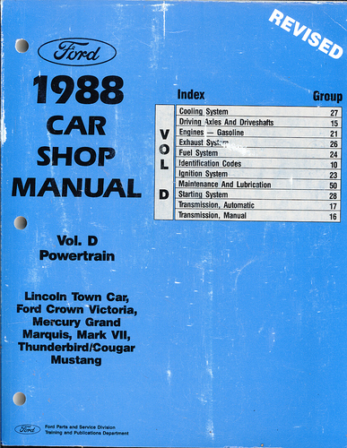 1988 Ford Car Shop Manual - (Volume D) - Lincoln Town Car, Ford