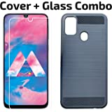 POPIO Tempered Glass & Back Cover Combo For Samsung Galaxy M30s (Transparent Glass & Black Back Cover) With Easy Installation Kit