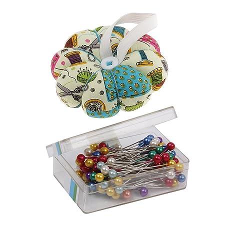 MagiDeal 80 Piezas Pernos de Costura de Cabeza Cojín de Alfileres de Calabaza Wearable Pin Cushion para DIY Needlework