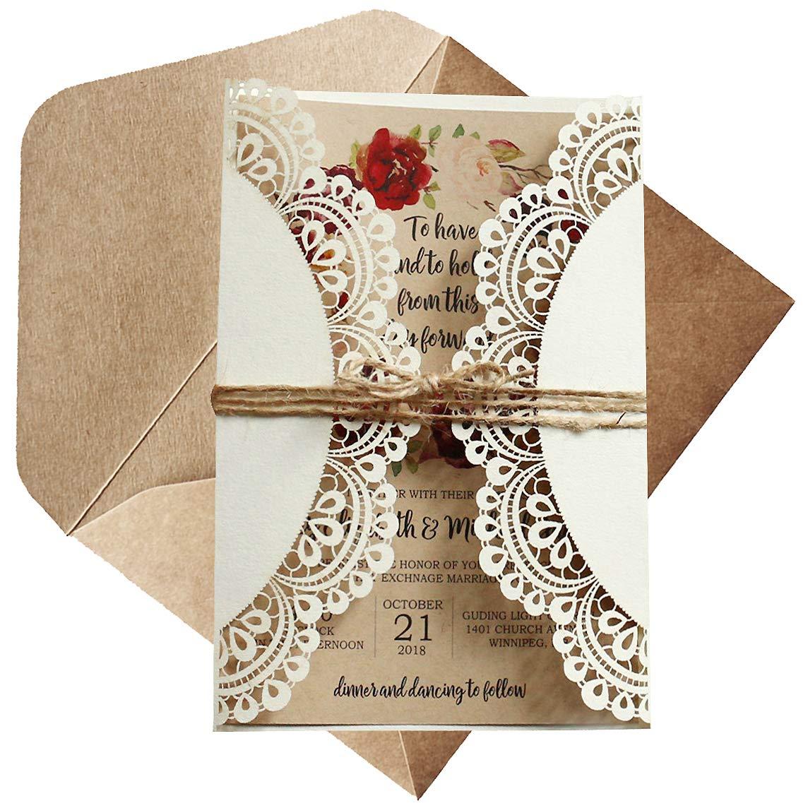 Off White Rustic Wedding Invitations Kraft Paper Invitation Cards Laser-Cut Invitations DIY Bridal Shower Invites - Set of 50 pcs (Blank Invitations)