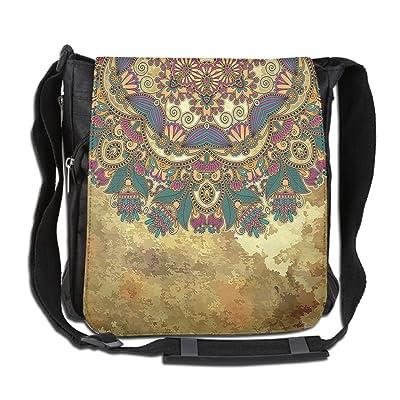 Lovebbag Indian Paisley Like Mandala Decor With Flowers Leaves And Buds Wear Art Crossbody Messenger Bag