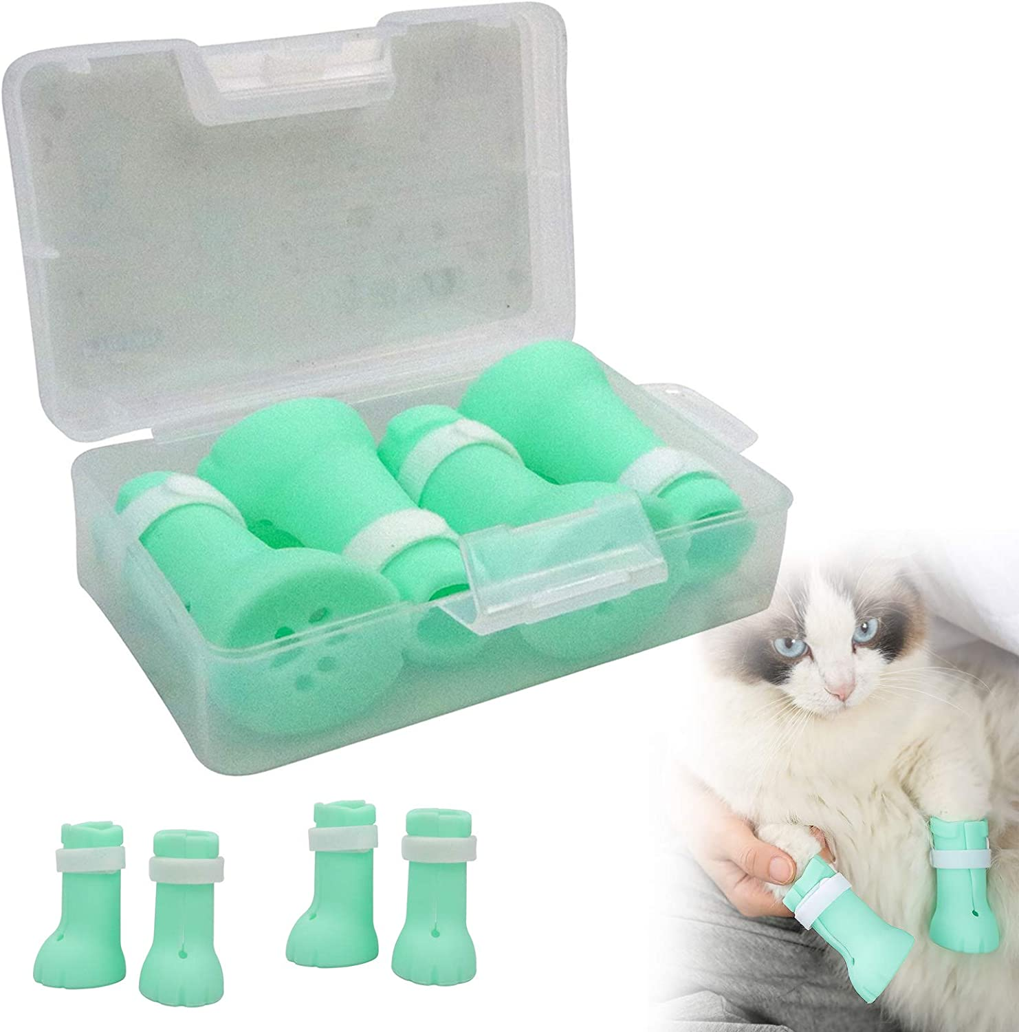N/W Silicone Cat Nail Covers Caps, Anti-Scratch Cat Claw Covers, Adjustable Cat Nail Caps Cat Paw Protector, Pet Scratching Restraint Booties Kitten Cat Shoes for Home Bathing, Shaving Checking