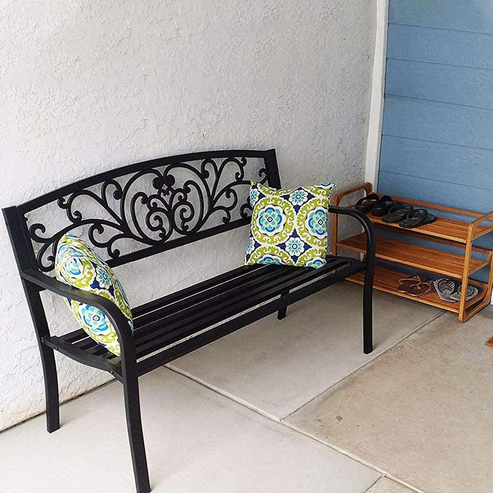 Garden Bench Patio Bench Park Outdoor Bench Metal Bench with Armrests,Outside Porch Chair,480lbs Cast Iron Sturdy Steel Frame Furniture for Yard Porch Entryway Lawn Decor Deck,L50 xD24 xH34.6,Black