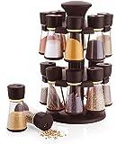 Floraware Plastic Revolving Spice Rack Set, 120ml, Set of 16, Brown