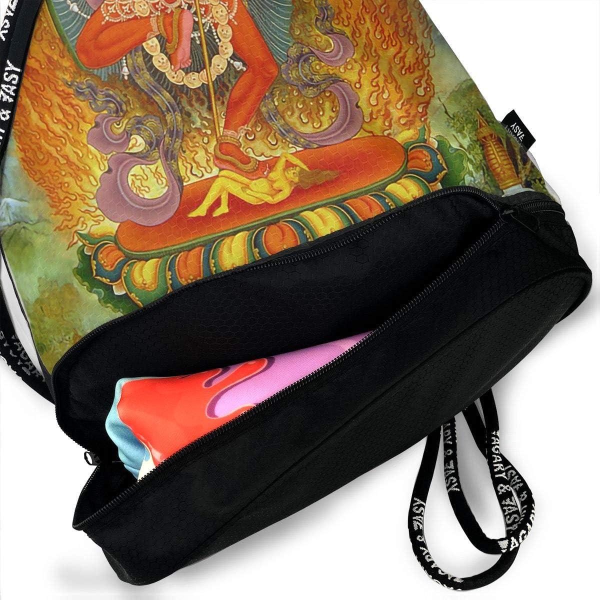 Drawstring Backpack Tangka Manjusri Shoulder Bags