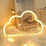 LED 雲ライト屋内装飾夜ランプネオンサイン イルミネーション ナイトライト 壁の装飾ライト雰囲気作り バレンタイン ホーム飾り付け 結婚式 パーティー クリスマス キッズおもちゃ 誕生日ギフト 祭り 電池式/充電式 (暖かい白)
