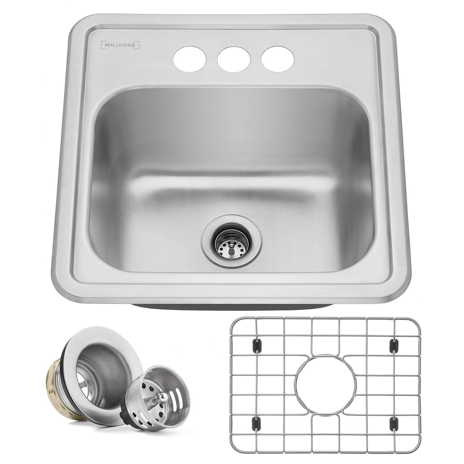 Miligore 15'' x 15'' x 6'' Deep Single Bowl Top-Mount Drop-in 22-Gauge Stainless Steel Bar/Prep/Utility Sink - Includes Drain/Grid by Miligore