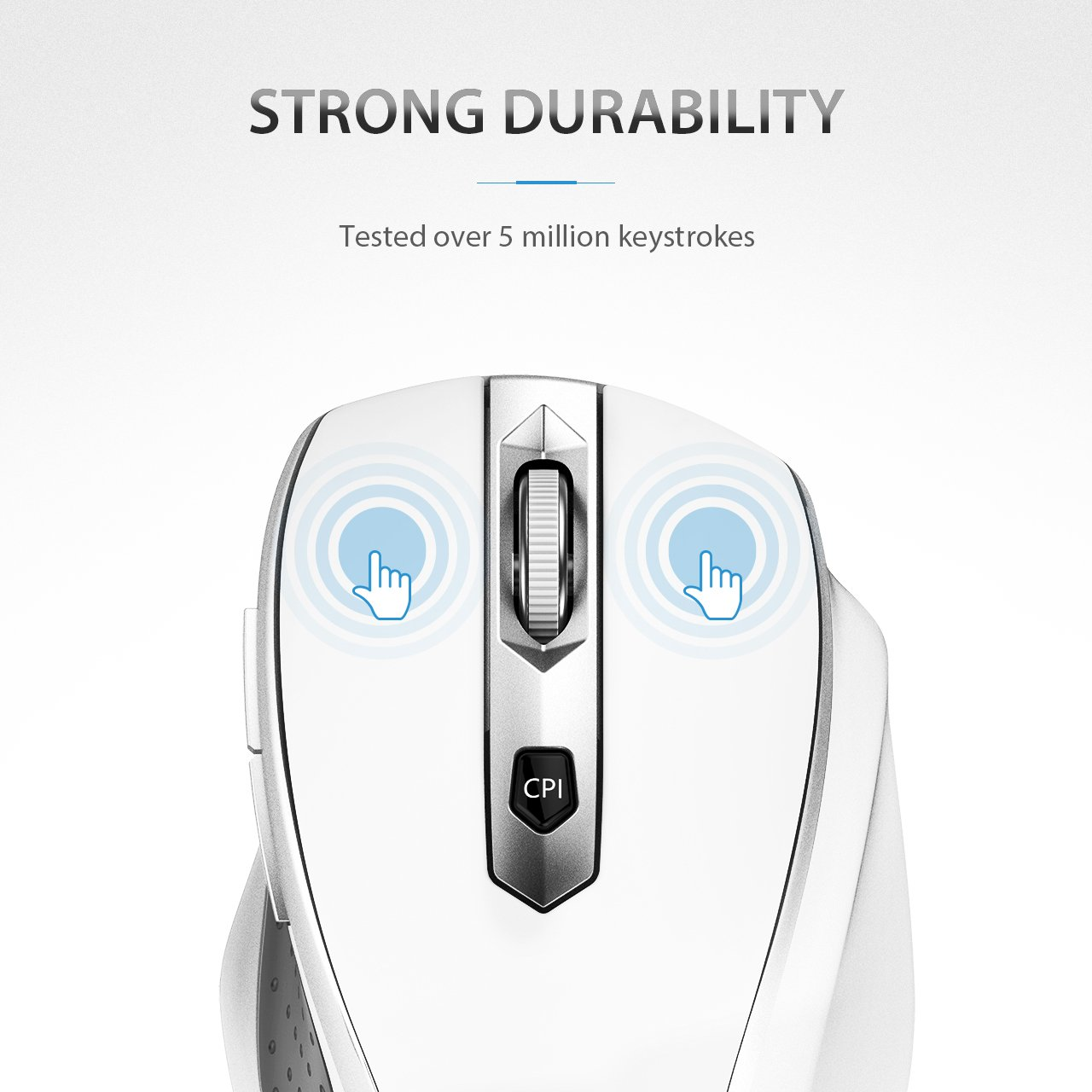VicTsing MM057 2.4G Wireless Portable Mobile Mouse Optical Mice with USB Receiver, 5 Adjustable DPI Levels, 6 Buttons for Notebook, PC, Laptop, Computer, Macbook - White by VicTsing (Image #6)