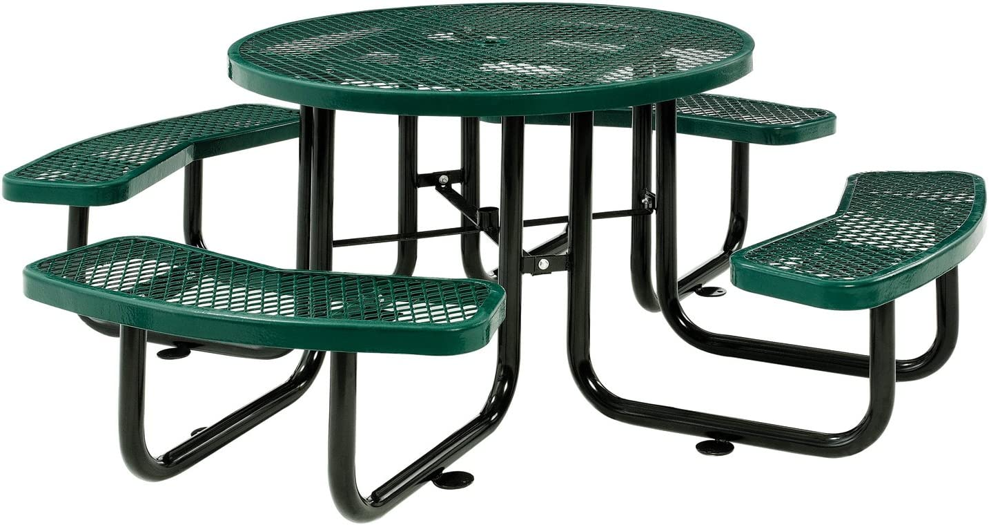 46 Expanded Metal Round Picnic Table, Green