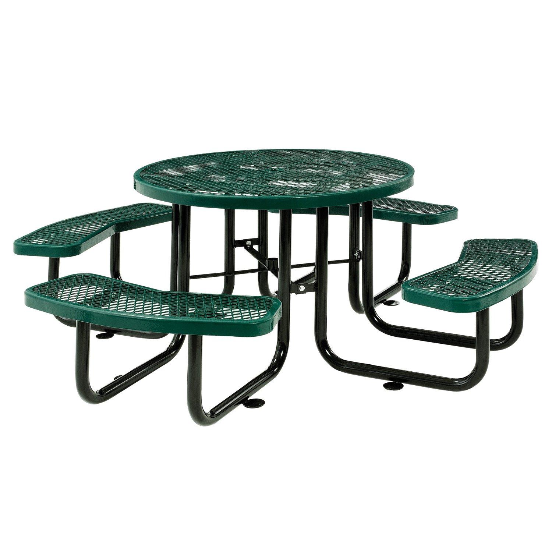 Sensational 46 Expanded Metal Round Picnic Table Green Inzonedesignstudio Interior Chair Design Inzonedesignstudiocom