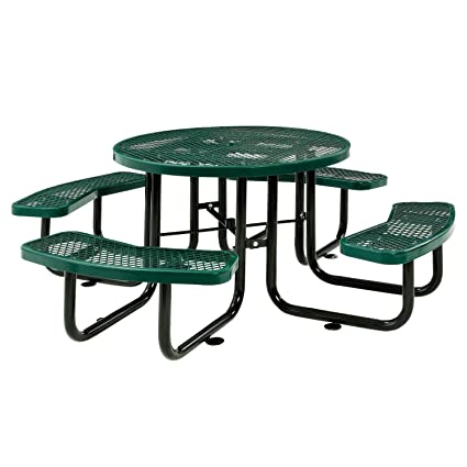 Global Industrial 46u0026quot; Expanded Metal Round Picnic Table, ...