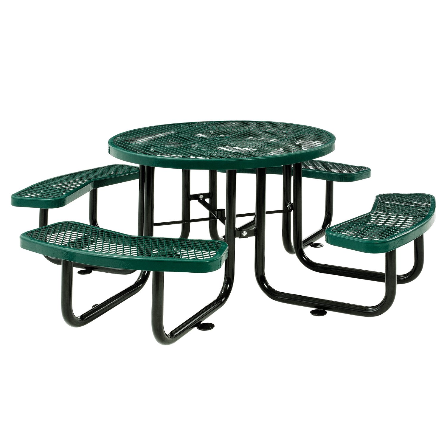Global Industrial 46'' Expanded Metal Round Picnic Table, Green
