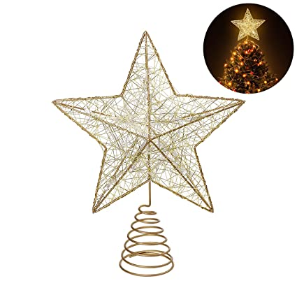 8ca15990a67e Amazon.com: NICEXMAS Christmas Tree Topper LED Star Battery Operated Treetop  Decoration (Gold): Home & Kitchen