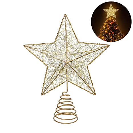 Nicexmas Christmas Tree Topper Led Star Battery Operated Treetop