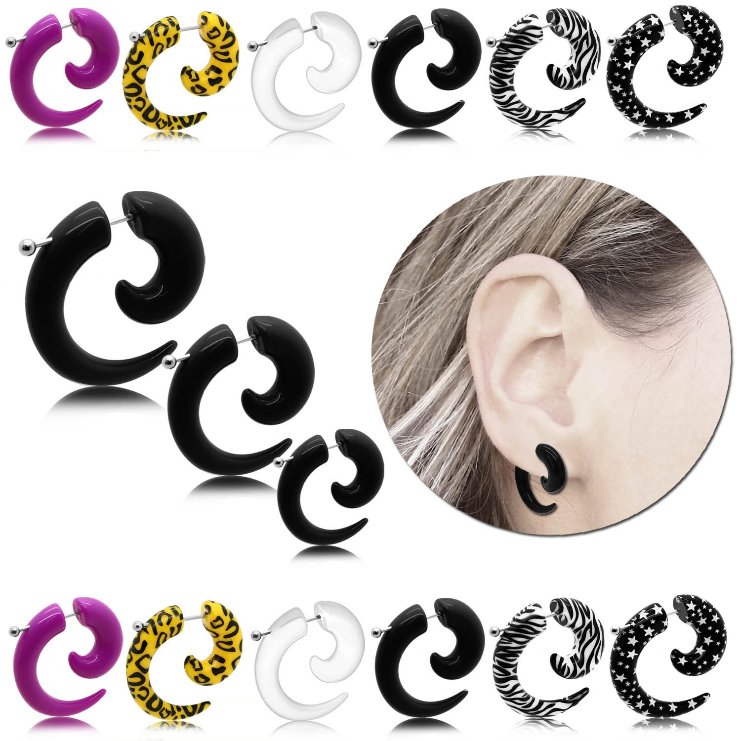 tumundo 1 Par Espiral Falso Dilatador Taper Pendientes Acrilico Fake-Plugs Piercing Color 4mm Animalprint Estrella Oreja, modelo:mod 1: Amazon.es: Joyería
