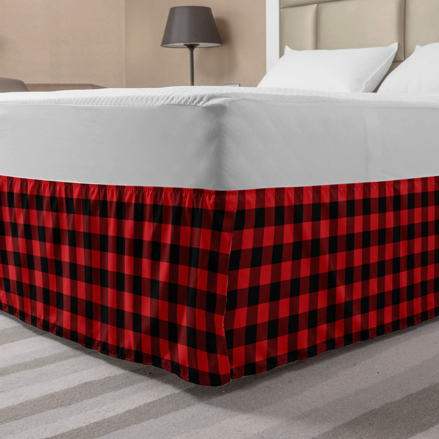 VHC Rustic Queen Bed Skirt Bedding Gathered Split Corners Cumberland Red Cotton