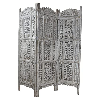 Awe Inspiring Indian Heritage Wooden Screen 20X72 Three Panel Mango Wood And Mdf Cutout Design In White Distress Finish Interior Design Ideas Tzicisoteloinfo