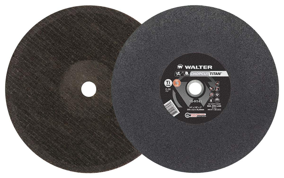 Walter Surface Technologies 10H163 Chopcut TiTAN Titanium Cutoff Wheel for Chop//Stationary Saws Pack of 10 7//8 Arbor Type 1 16 Diameter 7//8 Arbor 9//64 Thick 16 Diameter Round Hole 9//64 Thick Pack of 10 3800 rpm Silicon-Carbide