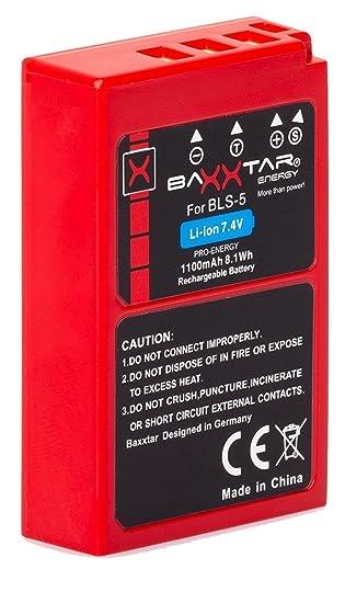 Baxxtar PRO Energy batería para Olympus BLS-5 BLS-50 (de 1100mAh)