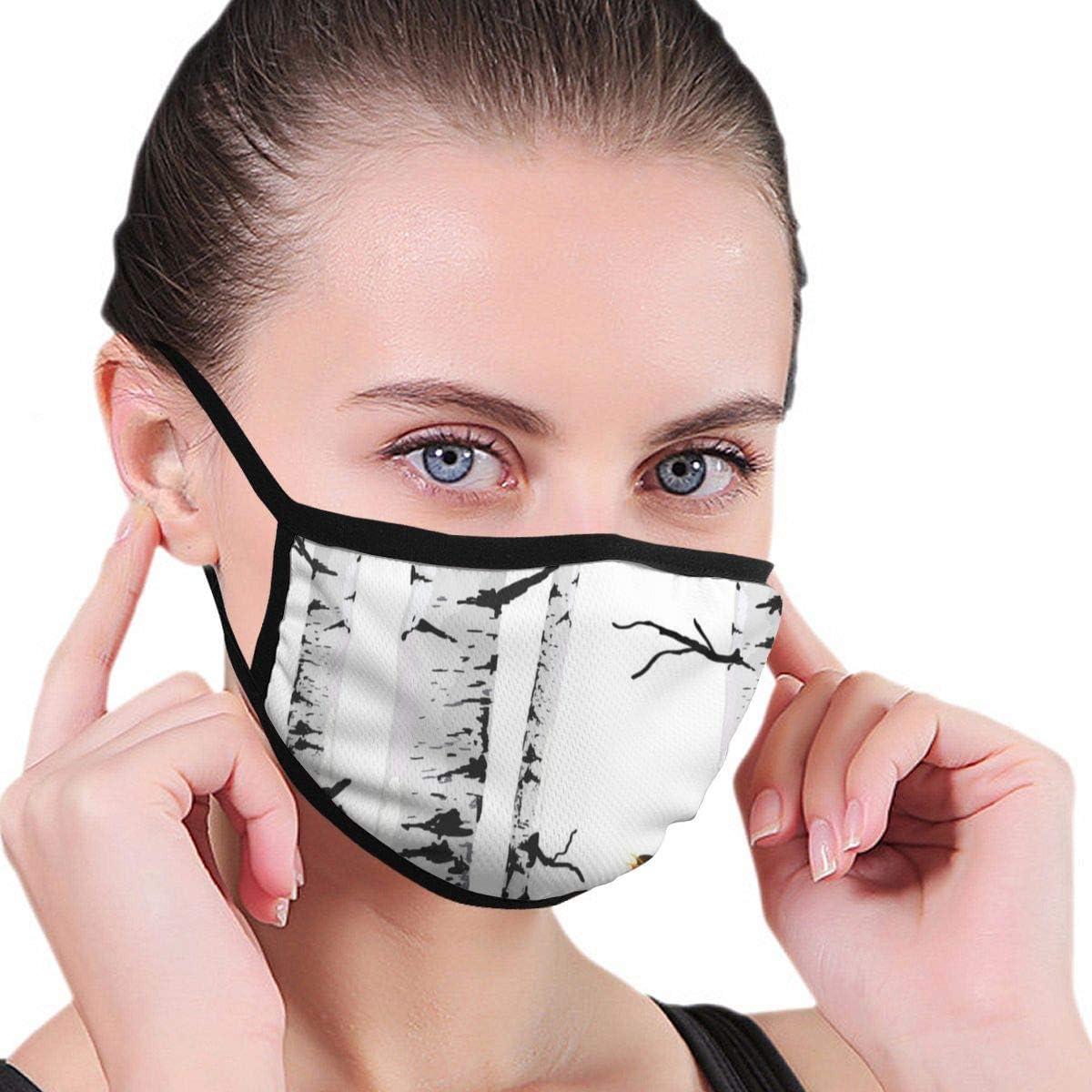 Máscara de protección contra Virus, murales de pájaro de abedules, Dibujo con Elementos editables para protección antivirus y Salud Personal, Antipolvo, máscara Faci