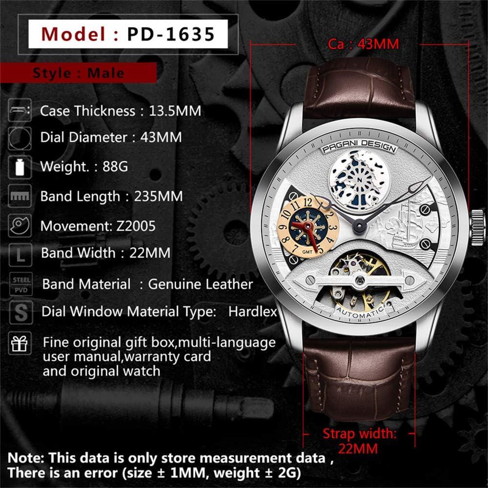 orologio da polso 2020 orologio da uomo moda in pelle oro orologio da uomo automatico meccanico scheletro orologio impermeabile masculino reloj hombre Marrone1