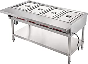 VBENLEM Commercial Electric Food Warmer 4 Pot Steam Table Food Warmer 18 Quart/Pan with Lids with 7 Inch Cutting Board Food Grade Stainless Steel Steam Table Serving Counter 220V 3000W for Restaurant