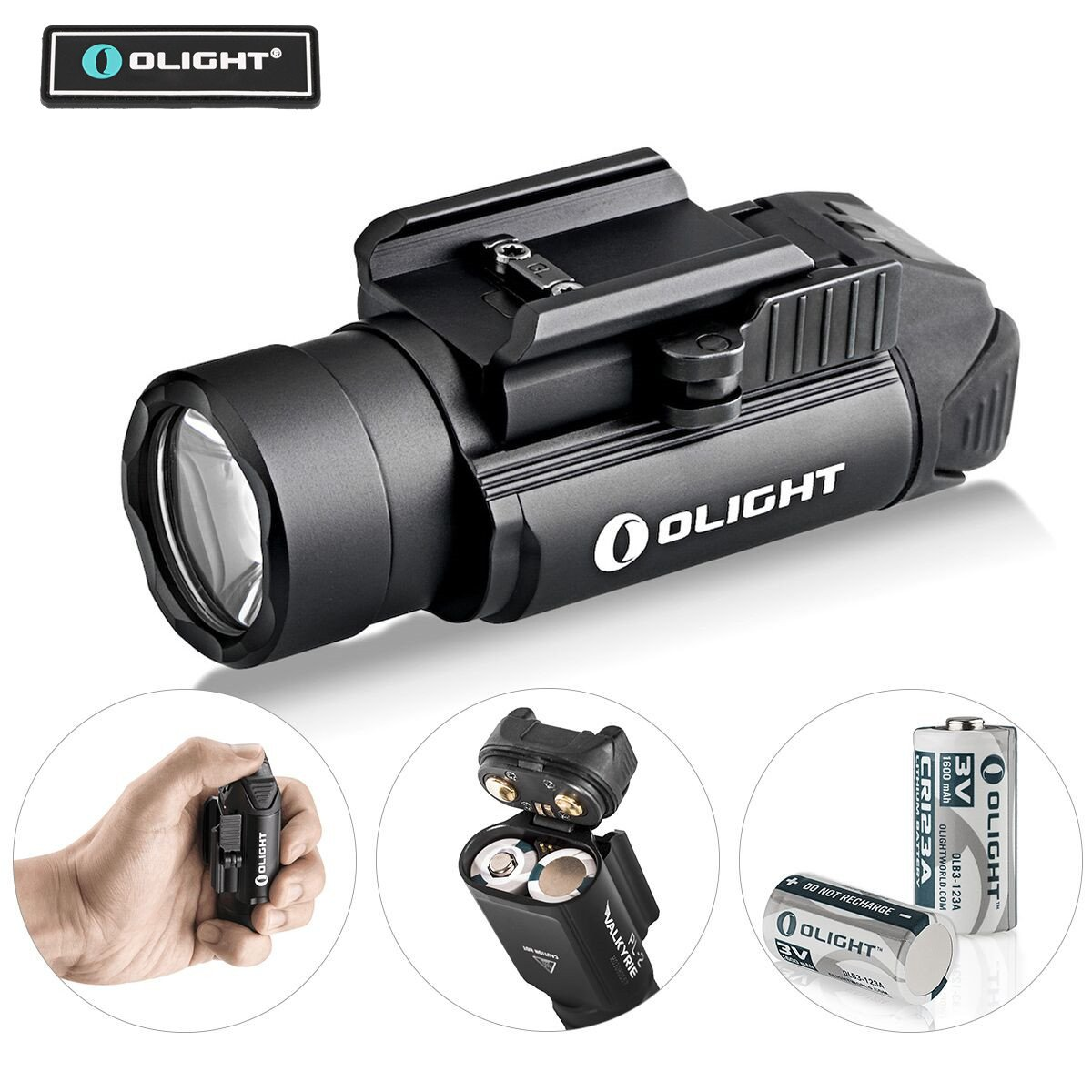 Bundle : Olight PL-2,PL2, pl ii Valkyrie 1200 Lumen rail mounted compact pistol light with 2 x cr123a batteries weaponlight flashlight with olight patch