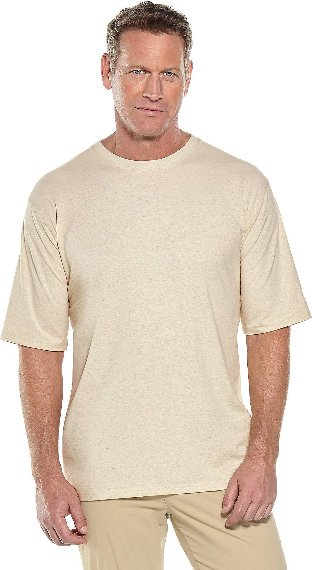 Coolibar UPF 50+ Men's Short Sleeve Everyday T-Shirt - Sun Protective (X-Large- Light Oatmeal Heather)