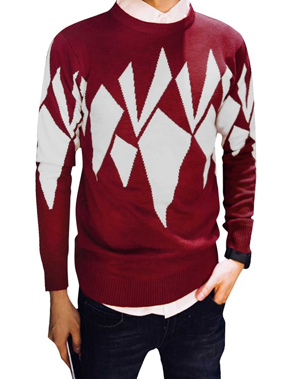 dcd1d4cde7cbcc uxcell Men Crew Neck Long Sleeve Geometric Pattern Knitting Shirt low-cost