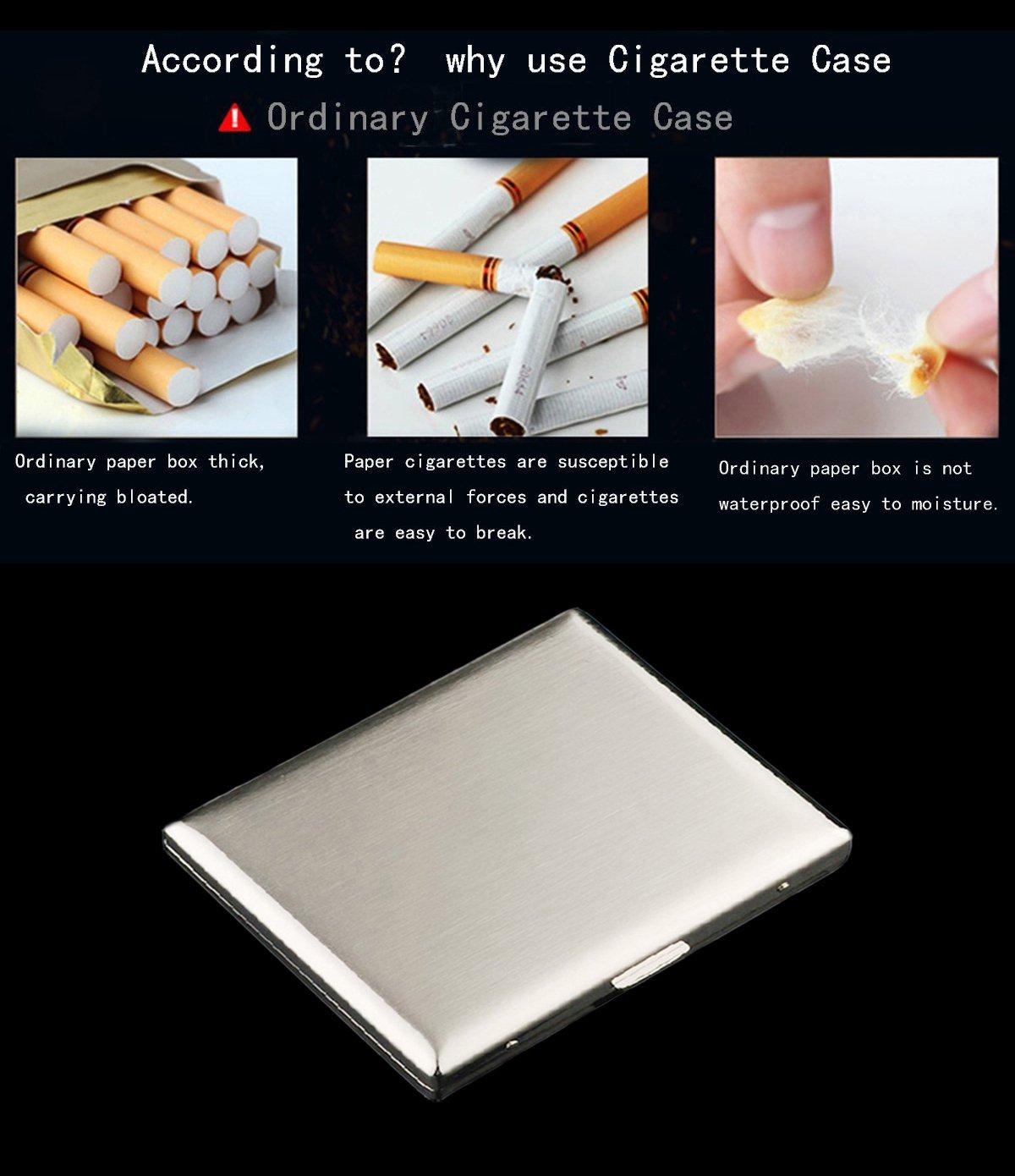 CaLeSi Classic Zigarettenetui Lagerung f/ür 20 Zigaretten Halter Edelstahl Drahtziehen Verarbeitung mit Geschenkbox