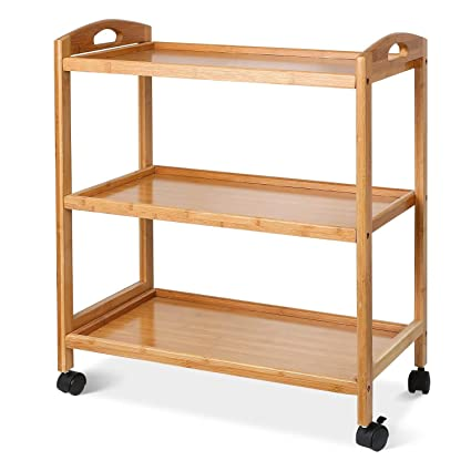 Homfa Carrello a 3 piani con ruote in bambù per cucina 40.5x33x73cm