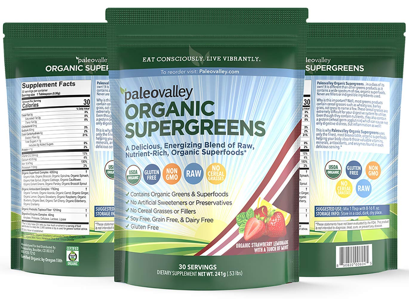 Paleovalley: Supergreens - Organic Green Superfood Powder - 30 Servings - Contains 23 Organic Superfoods, Free from Cereal Grasses, Gut Friendly