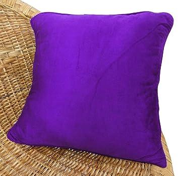 Amazon.com: Púrpura Llano Velvet Cojín cuadrado sofá fundas ...