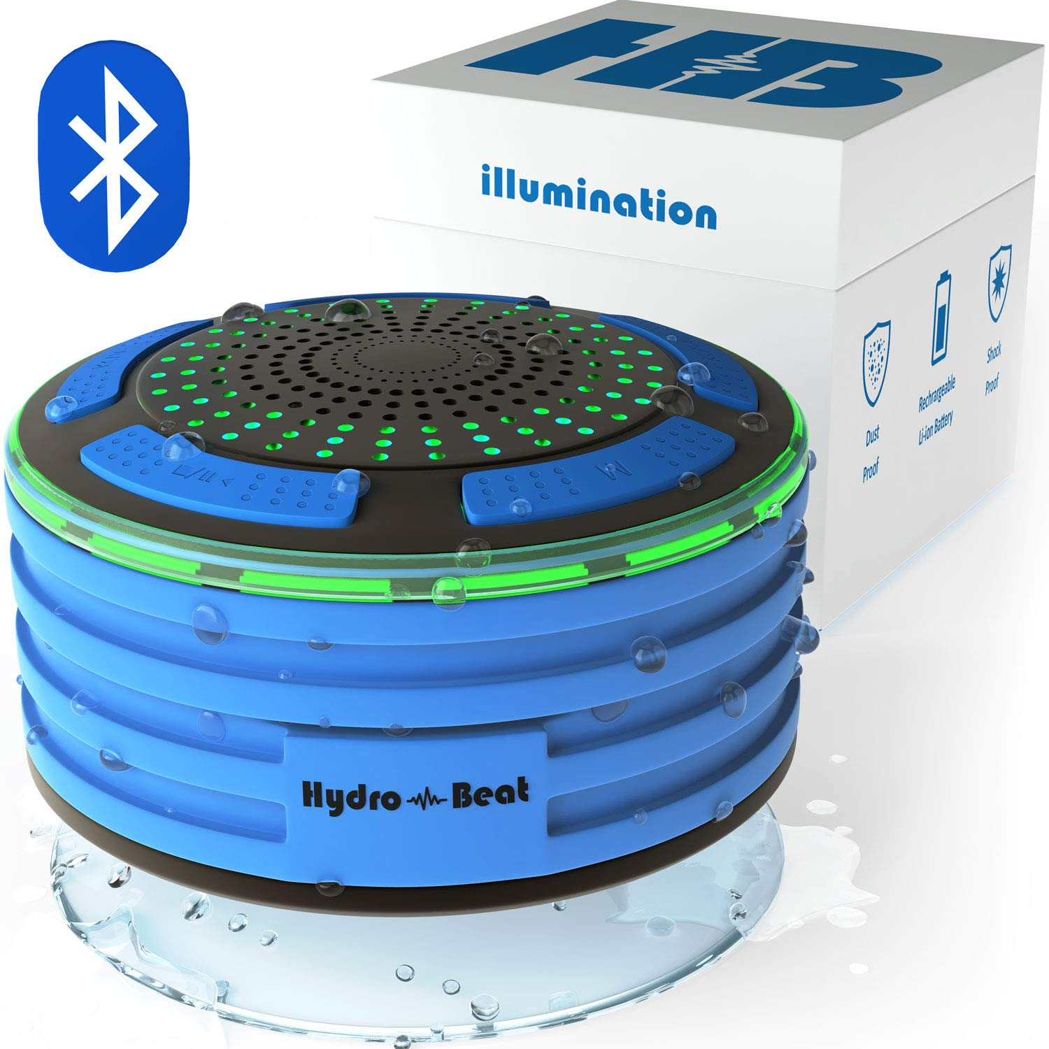 Bluetooth Portable Waterproof Shower Radio - HB Illumination - Shockproof, Dustproof Wireless Shower Radio with Suction Cup, Perfect for Pool, Shower, Boat, Beach, HOT Tub, Outdoors, Indoors by Hydro-Beat