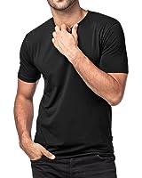 Lapasa Men's 2-Pack Short Sleeve T Shirts Tag-Free Crew Neck Cotton Stretch Undershirts M05