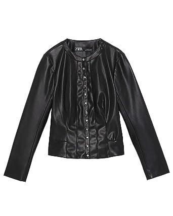 cda4b1d5 Amazon.com: Zara Women Buttoned Faux Leather Jacket 3046/039 Black ...