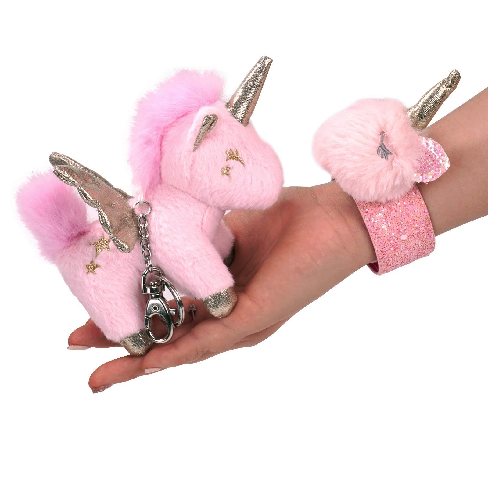 EASYLEISURE Plush Stuffed Cute Unicorn Keychain Slap Bracelet wristband as Unicorn Gifts