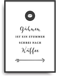 Kunstdruck NO COFFEE, NO WORK Fine Art Poster Print Plakat moderne ...