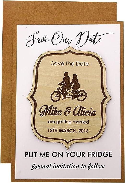 Wooden Wedding Invitation Dates Magnets Wine Bottle Save The Date Fridge Magnet