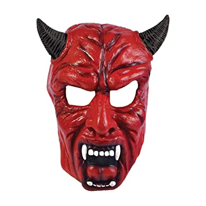 Devil Pvc Full Face Mask With Horns