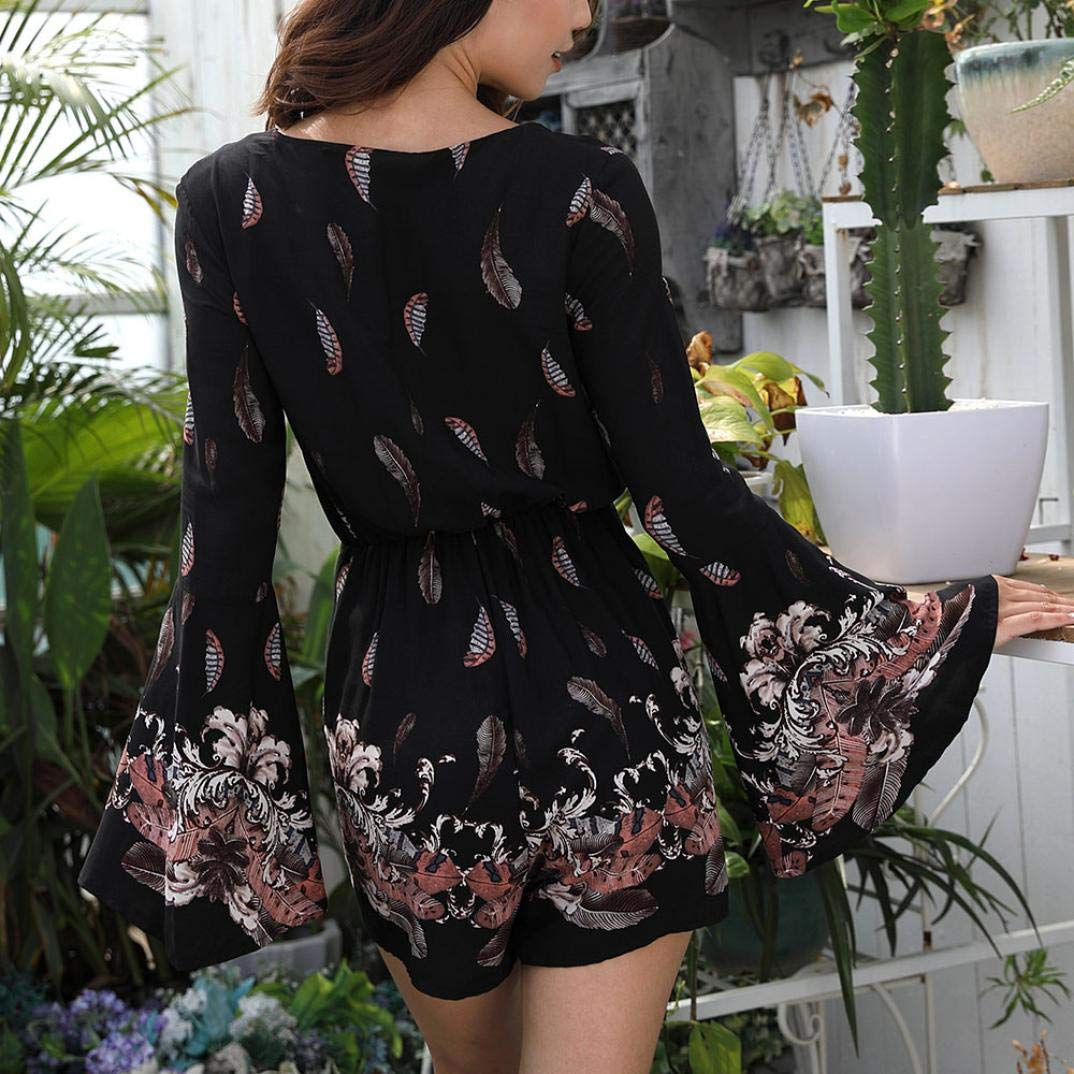 Sunmoot Women V Neck Loose Printing Long Sleeve Rompers Jumpsuit Playsuit