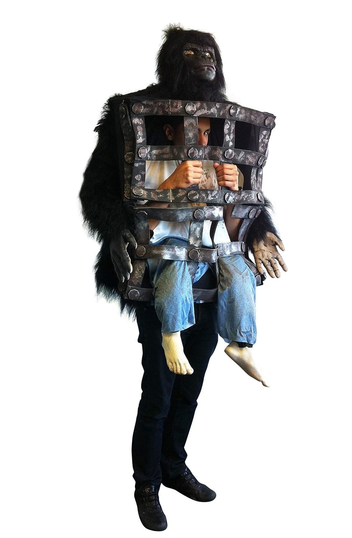 Disfraz de gorila con hombre en jaula - Única: Amazon.es: Juguetes ...