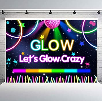 Wondrous Amazon Com Flasiy Lets Glow Crazy Backdrop 10X7Ft Music Funny Birthday Cards Online Eattedamsfinfo