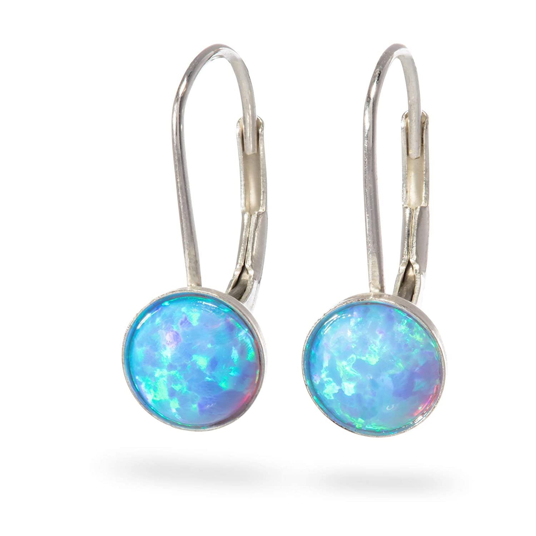 c8c49ace87ef2 Amazon.com: Opal Earrings Sterling Silver Leverback hook Drop and ...