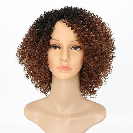 Afro Kinky Peluca corta rizada peluca negra y marrón Ombre pelucas para mujer 100% fibra