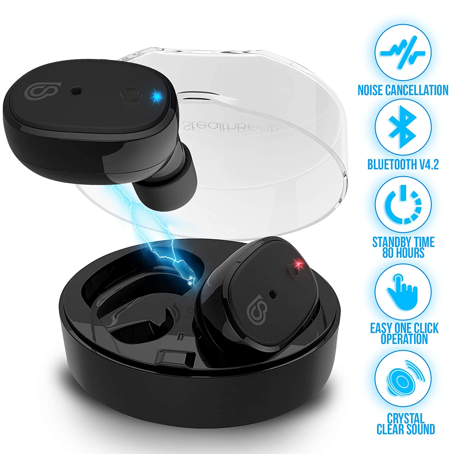 839395ca7bb Amazon.com: StealthBeats Bluetooth Wireless Headphones with Microphone  [INVISIBLE EARPHONES] Running Earbuds with Dock Charger - Noise  Cancellation, ...