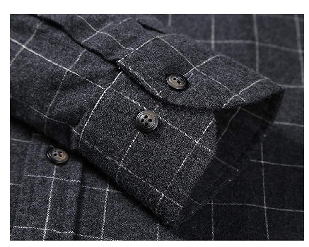 SportsX Men Long Sleeve No-Iron Longshirt Regular-Fit Plaid Dress Shirts