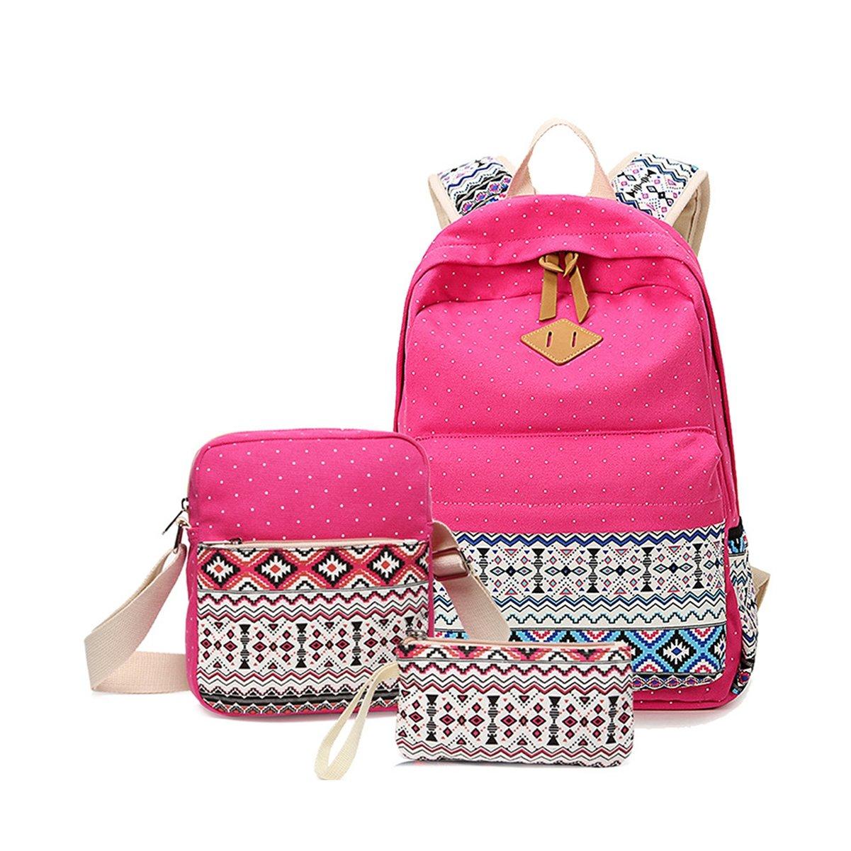 Zehui Casual Lightweight Canvas Wallet/Shoulder Bag/School Backpack Travel Bags Set Rose Red One Size