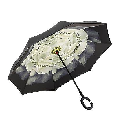 lokep doble capa paraguas invertido coches Reversible paraguas con mango en forma, Gardenia