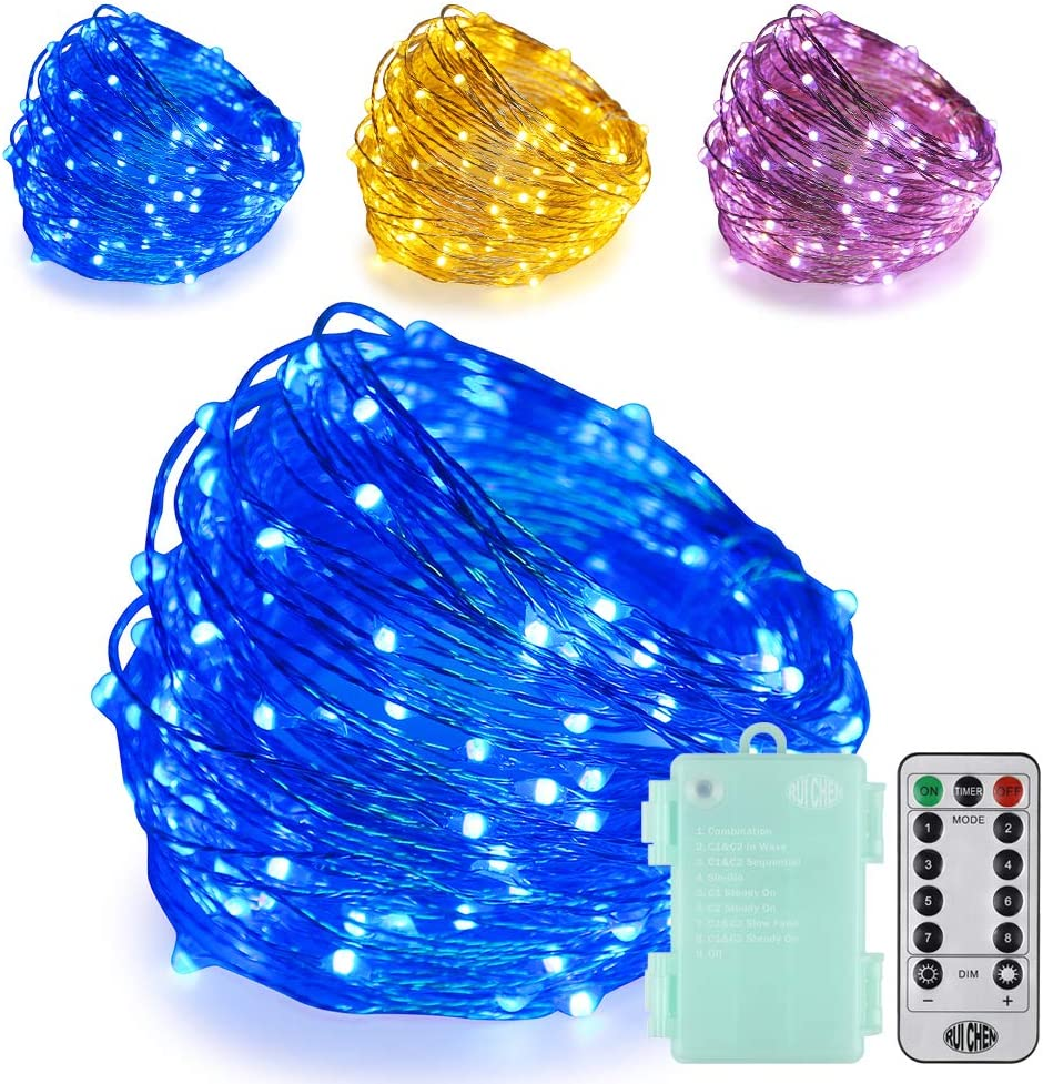 Ruichen Dimmable Battery Operated LED String Lights with Remote&Timer 8 Modes 66Ft 200 LED Silver Coated Copper Wire Color Changing Fairy Lights for Indoor Ourdoor Garden Party (Warm White&Blue)